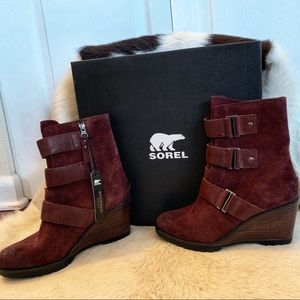Sorel After Hours Waterproof Boots Red Suede NEW 8